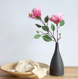 wholesale magnolia flowers UK - home vase flower arrangement desktop decoration Single branch magnolia artificial flower Party Supplies wedding decoration supplies