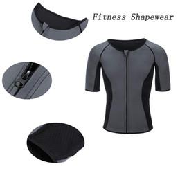 Body Sauna UK - DLGLOBAL Men Sweat Neoprene Weight Loss Sauna Shirt Workout Shirt Body Shaper Fitness Jacket Gym Top Clothes Shapewear