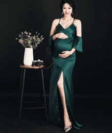 sexy dresses for pregnancy Australia - Elegant Sleeves Prom Dresses 2019 Sexy Maternity Formal Evening Dress Satin Pregnancy Clothes For Photo Shooting