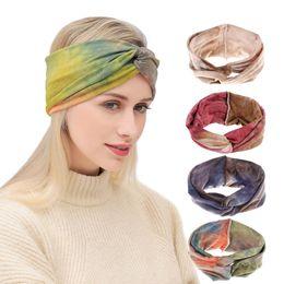 $enCountryForm.capitalKeyWord Australia - New stretch sports hair band ladies tie dyed cross hair band edge turban headwear