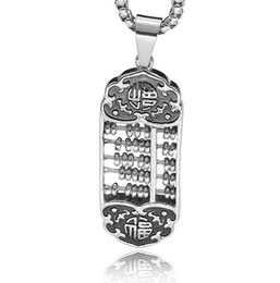pendants abacus Australia - Party New Retro Chinese Style Jewelry Abacus Shape Stainless Steel Silver Color Pendant Happiness Gift Necklace 44mm*17mm P1807