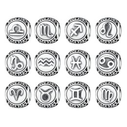 Chinese  Vintage 925 Sterling Silver Aquarius Star Sign Zodiac Beads Charms fit Bracelets DIY Twelve Constellations PSC048 manufacturers