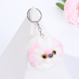 rabbit fur pillows UK - 1 pcs Faux Rabbit Fur Plush Poodle Dog Keychain Bag Pendant Fluffy Keyring Pet Puppy Key Chain Jewelry Child Birthday Gift