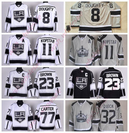 Wholesale Man s Cheap Los Angeles Kings Jerseys Jonathan Quick Dustin Brown Drew Doughty Jeff Carter Stitched High Quality Hockey Jersey White