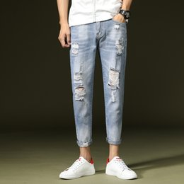 slim tapered jeans NZ - Men Jeans Pants Light Blue New Hole Tapered Denim Trousers Men's Trend Casual Style Slim Nine Pants Student Harem Jeans Men
