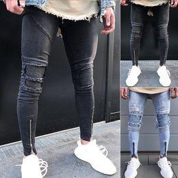 Wholesale men skinny jeans zippers ankle resale online – designer 2019 New Autumn Fashion Ripped Jeans Men Long Trousers Skinny Distressed Ankle Zipper Jeans Denim Pants Plus Size