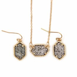 titanium crystal agate druzy quartz UK - YJX030 Mini Iridescent Druzy Drusy Pendant Necklace With Matching Drop Earrings Hot Fashion Jewelry Sets Super Cute