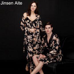 $enCountryForm.capitalKeyWord NZ - Jinsen Aite Couple Silk Print Autumn Spring Pajamas Set Women Men Sexy Sleeveless Strap Nightwear Long Pant Robe Sleepwear JS740