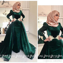 maxi dresses evening wear Canada - 2019 Muslin Islam Haji Women Winter Evening Dress Moslem Velvet Long Sleeve Overskirt Prom Party Wear Elegant Women A-line Formal Maxi Gowns
