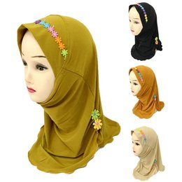 one scarf Australia - Muslim Girls Hijab Kids Wrap Shawl Islamic Head Scarf Amira One Piece Hijab Cap