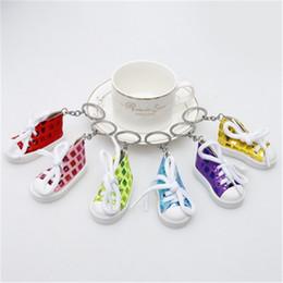 $enCountryForm.capitalKeyWord Australia - Mini Canvas Shoe Keychain 3D Sneaker Cute Tennis Shoes for Bag Pendant Key Chain Shoes Key Ring Funny Gifts 6 Colors