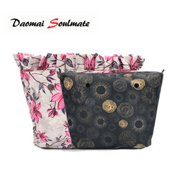 navy printed handbags 2019 - Classic Mini Floral Border Lining Colorful Print Inner Zipper Pocket For O bag Obag insert with inner waterproof coating
