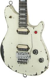 Wholesale men guitar for sale – custom New Custom aged Eddie Van Halen Wolf Guitar Music Man Ernie Ball Axis vintage White Relic Electric Guitar Red Button Tremolo Bridge