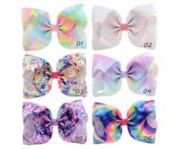 $enCountryForm.capitalKeyWord NZ - 8 Inch Baby girl hair bows Bowknot barrettes Rainbow Popular Grosgrain Girls Floral Hair Clips Baby Hair Accessory Hairpin 826