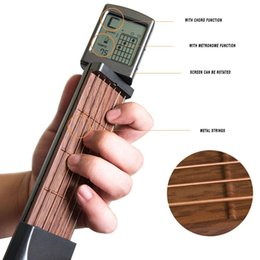 New Electric Guitar Brands Australia - Brand New Pocket Guitar Electric Guitar 6 Strings Guitar Gadgets Aerial Finger Exerciser Train Practice Tools with Chord Display