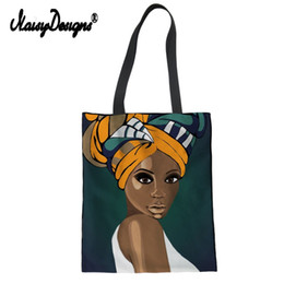 custom canvas art prints Australia - Noisydesigns Art Afro Lady Print Women Canvas Shoulder Bag Eco Shopping Tote Large Cotton Girl Painting Custom Handbags Students