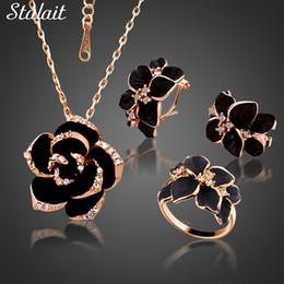 Jewelry Enamel Painting Australia - Fashion Rose Flower Enamel Jewelry Set Gold Color Black Painting Bridal Jewelry Sets for women 82606