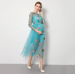 e243213cdc3 Photography Props Maternity Dresses Photo Shoot Pregnant Pregnancy Dress  Pregnant Blue Mesh Butterfly Embroidery Perspective Studio Props
