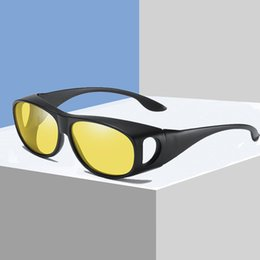 d909ee5ea9d Coating Sunglasses Night Driving Eyewear Anti-Glare Wear Glasses Fit Over  Prescription Glasses Wrap Around Yellow Lens S3009