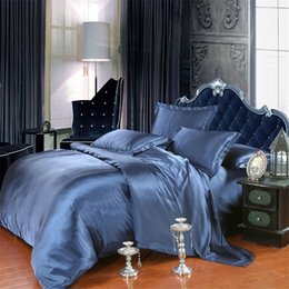 Red Bedding Full Australia - Summer Cool Imitated Silk Bedding set home textile AB side bed linen soild bedclothes soft silky twin Queen&King