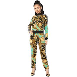 Chinese  Women Sports Tracksuit Gym Outfit printed casual sports suit Retro Sportwear Long Sleeve Zipper Coat Leggings Sets GGA1628 manufacturers
