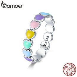 rainbow rings for women Australia - BAMOER Authentic 925 Sterling Silver Stackable Rainbow Heart Finger Rings for Women Wedding Engagement Ring Jewelry Anel SCR444