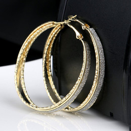 hoop earrings rhinestones 2019 - 2019 Fashion Hoop Earrings With Rhinestone Circle Earrings Simple Big Circle Loop For Women Gifts Dropship discount hoop