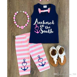$enCountryForm.capitalKeyWord Australia - Summer Girls Clothing Sets Baby Girl Outfits Kids Tank Tops Navy Blue T Shirt Pink Striped Pants 2 Piece Set Cotton Children Clothes