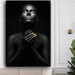$enCountryForm.capitalKeyWord Australia - African Art Pray Nude Woman Black and Gold Oil Painting on Canvas Cuadros Posters and Prints Wall Picture No Framed