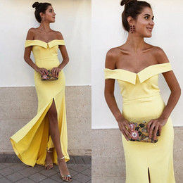 $enCountryForm.capitalKeyWord NZ - Elegant Yellow Evening Dresses Off the Shoulder Front Split Full Length Daffodil Long Formal Prom Party Gowns Cheap High Quality