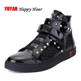 mens soft leather casual shoes UK - Spring and Autumn Boots Men High top Sneakers PU Mens Casual Shoes Man Brand Rivets Shoes KA520