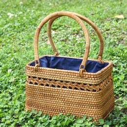 Hand Made Bags Style Australia - Korean Fasion beach bags handle bamboo wooden woven Vietnam style lady stylist hand made knitting straw bag 25cm picnic baguette basket bag