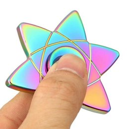 $enCountryForm.capitalKeyWord Australia - Novelty Metal Rainbow Color Fidget Spinner Alloy Metal Gyro Zinc Hand Spinners Six Arm Spinning Top Rotation Long Time Fingers Toys