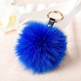 rabbit head costume UK - Fox Fur Fluffy Keychain For Women Handbag Auto Car Leather Lion Head Key Rings Pompom Long Soft Fur Cute Key Chains Gift