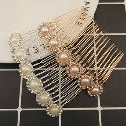 $enCountryForm.capitalKeyWord Australia - Rhinestone Flower Faux Pearl Hair Comb Clip Wedding Bridal Alloy Hair Pins Women Jewelry Styling Brush Girl Female Gift