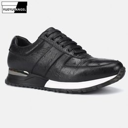 ostrich leather shoes men 2019 - High Quality Ostrich Skin Genuine Leather Mens Casual Leather Fashion Pointed Toe Lace Up Male Outdoor Travel Sneakers S