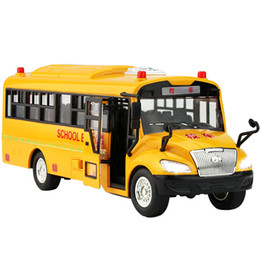 toy school buses Canada - Large Kindergarten Bus Children School Bus Toy Model Simulation Bus Musical Lighting Inertia Car For Boy Kid J190525