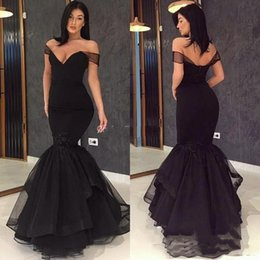 Elastic Off Shoulder Dress Pattern NZ - Black Prom Dresses 2019 Off the Shoulder Lace Tulle Evening Gowns Cheap Cocktail Party Ball Dress Special Occasion Formal Gown