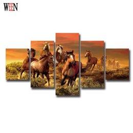 Ingrosso 5 pezzi di arte di cavallo su tela con cornice a mano in modo diretto immagini a parete per soggiorno HD Stampa grande moderno Cuadros Decoracion