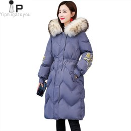 floral down parkas NZ - Winter Duck Down Parka Women Big Fur Collar Hooded Warm Coat Korean New Plus Size Long Down Jacket Fashion Embroidery Coat Women