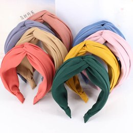 headbands for girls wholesale NZ - Fashion Women Cross Hair Bands for Girls Headband Knotted Hair Accessories Solid Color