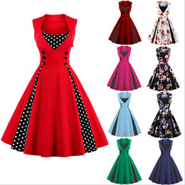 swing wedding 2020 - Fashion Women Robe Pin Up Dress Retro 2019 Vintage 50s 60s Rockabilly Polka Dot Wedding Party Swing Summer Female Dresse