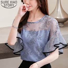 $enCountryForm.capitalKeyWord Australia - Fashion Women Blouse And Tops 2019 White Blouse Shirts Ladies Tops Lace Blouse Shirts Shorts Sleeve Office Lady Print 3546 50 MX190710