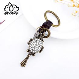 $enCountryForm.capitalKeyWord Australia - Gwwfs Rhinestone Shape Mirror Car Keychain Cowhide Keyring Antique Bronze Plated Color Men And Women Jewelry Fashion Bag Charm