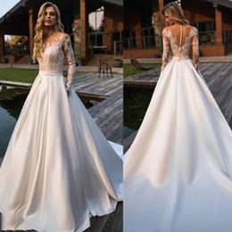 $enCountryForm.capitalKeyWord UK - Satin A Line Wedding Dresses 2020 Fashion Long Sleeves Sheer Top Lace Applique Bridal Gown Illusion Button Back Long Church Vestidos AL2727