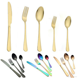 Wholesale 5 Colors high-grade gold cutlery flatware set spoon fork knife teaspoon stainless dinnerware sets kitchen tableware set 10 choices