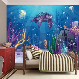 $enCountryForm.capitalKeyWord Australia - 3D space cartoon deep ocean animals mural wallpaper silk HD pattern waterproof wallpaper kids bedroom wall decor