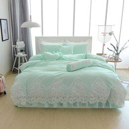 $enCountryForm.capitalKeyWord Australia - Blue Grey cotton lace princess style bedding set twin queen king single double bed size girls kids sheet duvet cover