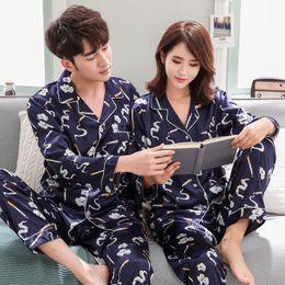 f4df1b34fd High Quality Lovers Pajamas Man Silk Satin Cartoon Long-Sleeved Pajama Sets  Couple Pajamas For Men Set Sleepwear At All Seasons