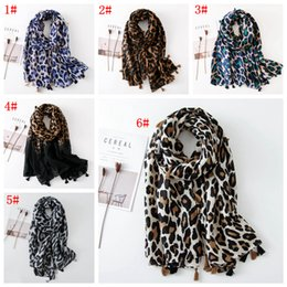 tassel scarf ladies cotton Australia - 6styles Women Leopard Tassel Scarf Spring Autumn outdoor Shawls Wraps Cotton Linen Cover-Up Muslim Hijab Ladies Scarves 180*90CM FFA3130-2
